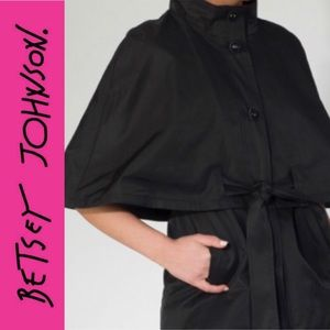 Betsey Johnson black belted cape coat / trench XS